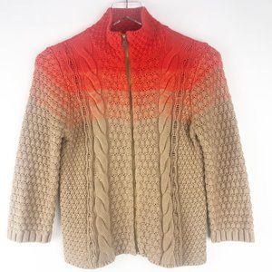 Rachel Roy Cable Knit Zip Front Ombre Sweater.
